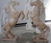 "PAIR OF HAND CARVED MARBLE HORSE STATUES, 42"" TALL"
