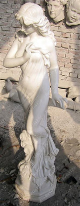 "ATTRACTIVE HAND CARVED MARBLE STATUE OF FEMALE , 50"" TALL"