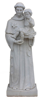 Hand Carved Marble Religious Statue of St. Anthony Holding Baby Jesus