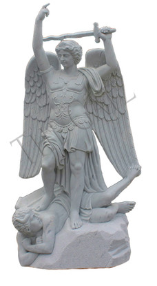 """Hand Carved Marble  St. Michael Statue, 72"""" Tall,  Religious Church Statue"""