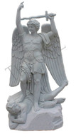 "Hand Carved Marble  St. Michael Statue, 72"" Tall,  Religious Church Statue"