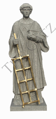 Hand Carved  Granite Religious Statue of St. Lawrence
