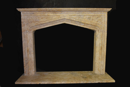 Hand Carved  Beige Travertine Gothic Style Fireplace Mantel