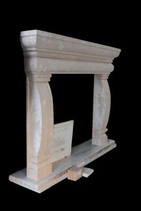 Hand Carved Tuscan Style Travertine Fireplace Mantel