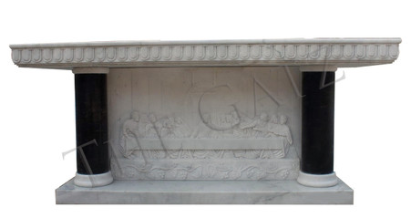 Hand Carved Marble Last Supper Altar with Black Columns