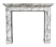 Contemporary Bolection Marble Fireplace Mantel, Italian Arabescato
