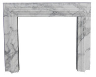Contemporary Bolection Marble Fireplace Mantel, Italian Arabescato Marble