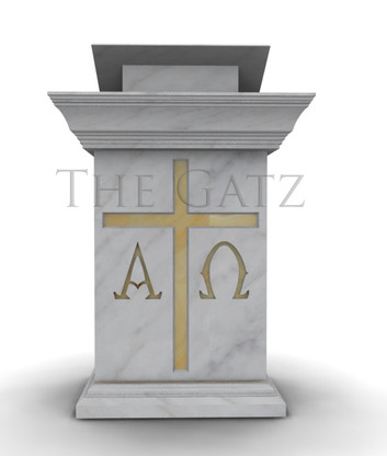 Marble Church Ambo Podium with Cross and Alpha Omega