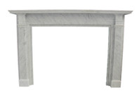 Contemporary Bolection Marble Fireplace Mantel, Simple Design, Italian Carrara