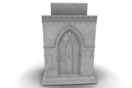 Hand Carved Gothic Style Church Ambo, Statuary White Marble
