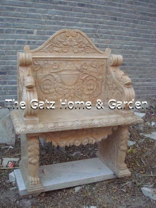 BEAUTIFUL CARVED MARBLE BENCH WITH ARMS AND BACK