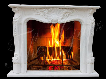 FRENCH PROVINCIAL STYLE MARBLE FIREPLACE MANTEL WHITE WITH SHELL CENTER CARVING Measures: 67 wide x 51 tall x 12 deep. Opening Measures: 42 wide x 36 tall.