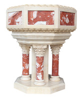 Hand Carved Marble Baptismal, Religious church Furnishings