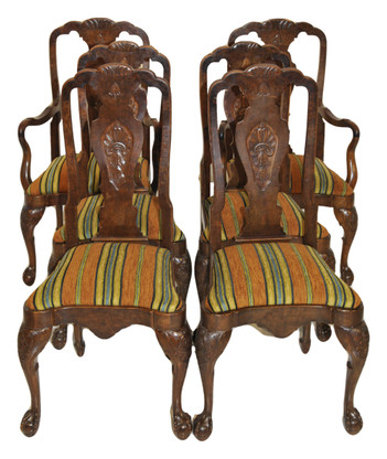 Set of Six Antique Dining Chairs, English Chippendale, 1940's