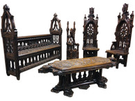 Extraordinary French Gothic Furniture Grouping, Bench, Chairs, Table & Umbrella Stand