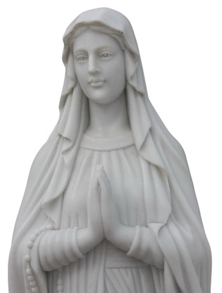Hand Carved Our Lady of Lourdes Marble Mary Statue 72 tall, Religious