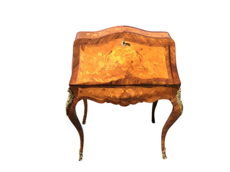 Charming Antique French Bombe Ladies  Desk with Inlay, 19th Century, Walnut