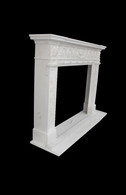 Hand Carved French Design Marble Fireplace Mantel, White Marble