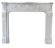 Hand Carved French Marble Fireplace Mantel Surround
