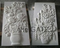 "ELEGANT MARBLE FLORAL RELIEF PANEL, 48"" TALL"