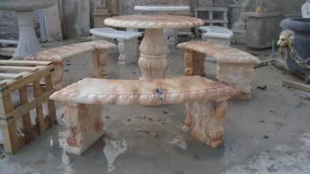OUTDOOR PATIO SET, INCLUDES TABLE AND 3 BENCHES, HAND CARVED MARBLE