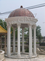 Classic Roman Inspired Marble Gazebo, 19ft Tall, Domed Metal Roof, Corinthian Style Columns