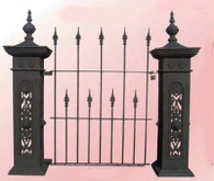 Cast Iron Pedestrian Gate with 2 Large Posts, Fleur di Lis