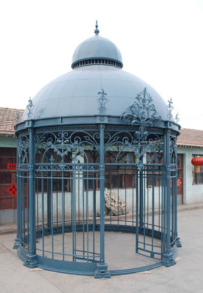 Cast Iron Gazebo with Dome Roof,  Nice Garden Decor for Entertaining