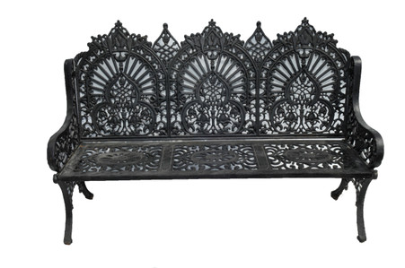 Large and Stately Victorian Inspired Cast Iron Garden Bench