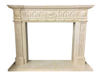 Hand Carved French Design Marble Fireplace Mantel Beige, Value Priced # 8018