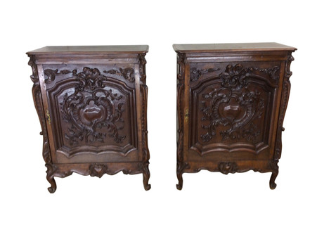 Matching Pair Antique French Renaissance cabinets, Narrow, Oak, 19th Century