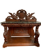 Unique Antique French Renaissance Server, Swan Carvings, Marble Top, Turn of Century