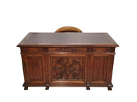 Fantastic Antique French Gothic Desk & Barrel Chair, Oak, 19th Century, Statement Piece