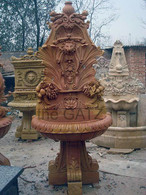 This is a beautifully finished marble wall fountain. The fountain is shown in a sienna beige color but can be carved in any color. This piece is ready to be installed and start pumping water. Great carving detail, overall good value. Measures: 35 wide x 26 deep x 82.5 tall.  Before purchasing, please contact us for availability and shipping quote.