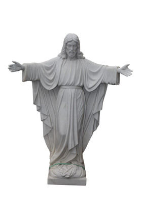 Hand Carved Marble Welcoming Jesus Statue, Religious Statue