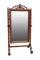 Lovely Antique French Hunt Cheval Mirror, Dressing Mirror, Barley Twist, 19th Century
