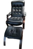 SPECIAL Vintage Dutch Reclining Leather Chair with Ottoman Black, Solid Oak Frame