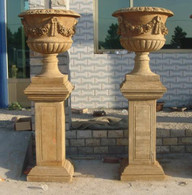 PAIR OF HAND CARVED MARBLE URNS WITH TALL PEDESTALS, FLORAL ROSE SWAGS Measures: 75 tall x 28 wide.