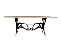 "Art Nouveau Iron Table Base With Travertine Top, Nice Bistro Style or Dining Table, , 74"" wide"