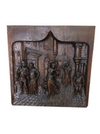 Intricately Carved French Panel- of Hunchback of Notre Dame, 19th Century