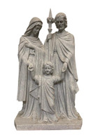 "Hand Carved Holy Family Statue- Jesus, Mary & Joseph, Granite, 49"" Tall"