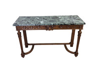Antique French Marble Top Console, 1920's, Walnut