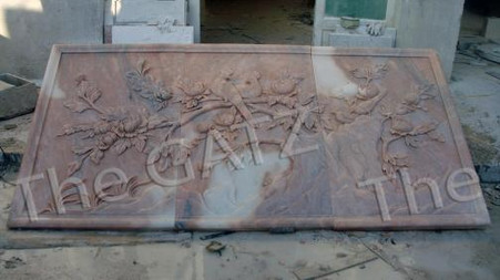 LARGE SUNSET MARBLE HAND CARVED RELIEF PANELS WITH TREE & BIRD DESIGN