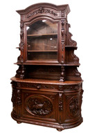 Tall Antique French Hunting Bombe Cabinet,  Carved Water Fowl, Dragons, 19th Century