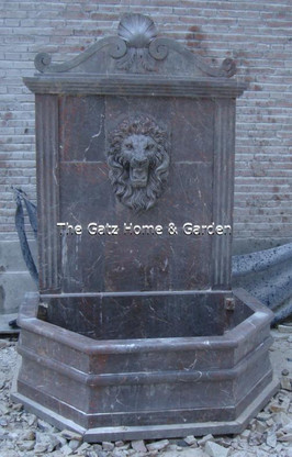 "SIMPLE HAND CARVED MARBLE WALL FOUNTAIN FEATURING LIONS HEAD, 96"" TALL"