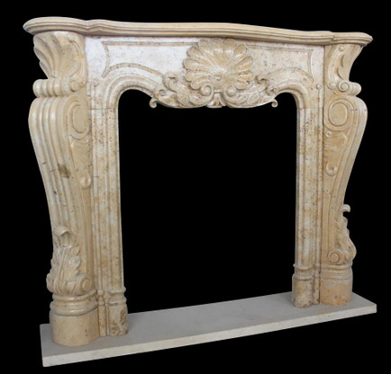 Hand Carved Marble Fireplace Mantel with French Design, Shell Carving & Scrolled Legs