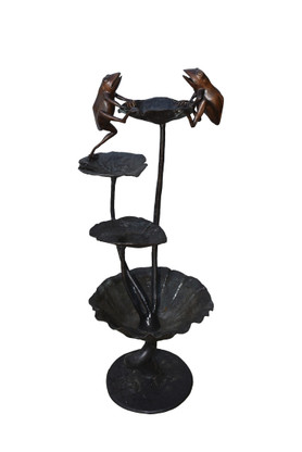 Four Tier Garden Frog Fountain, Bronze, Yard Art