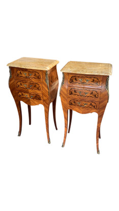 Petite Vintage French Night Stands, Marble Top, Inlays