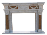 Hand Carved Marble Mantel, White & Beige Marble