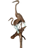"Bronze Herons on a Log Fountain or Garden Statue, 81""  Tall"
